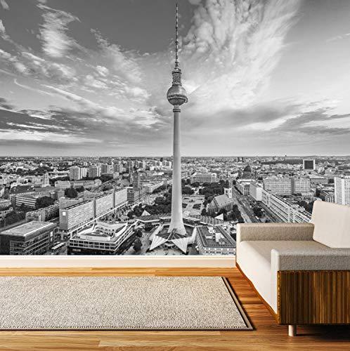 Vlies Tapete XXL Poster Fototapete Berlin Skyline Fernsehturm Farbe schwarz weiß, Größe 100 x 80 cm selbstklebend