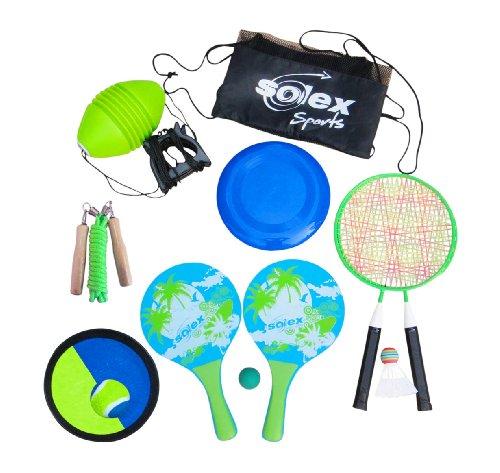 Strandspielzeug 6-in-1 SOLEX Strandspiele-Set, Spiele für draußen, Spielideen für den Kindergeburtstag im Freien, Ballspiel, Wurfspiel, Springseil