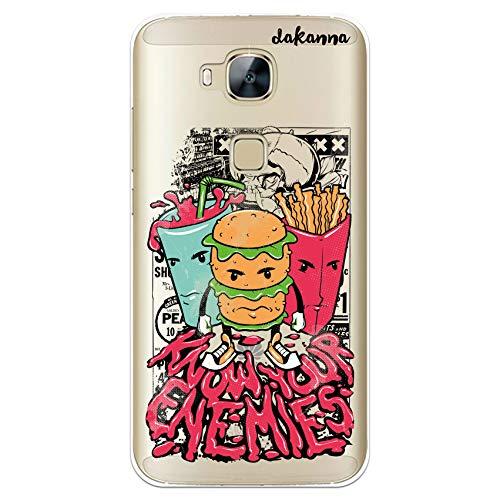 dakanna Funda Compatible con [Huawei G8 - GX8] de Silicona Flexible, Dibujo Diseño [Comida rapida y Frase, Comic Style ], Color [Fondo Transparente] Carcasa Case Cover de Gel TPU para Smartphone