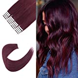 Sixstarhair Deep Burgundy Tape in Hair Extensions Human Hair 100% Remy Human Hair and Durable Tape No Residue Professional Skin Weft Hair Extensions [Color 530 Deep Burgundy 20inch]