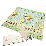 Manta de juegos para bebé, plegable, de espuma extragrande, reversible, no tóxica, impermeable, apta para niños y niños (Forest Maze + Jungle Animal)