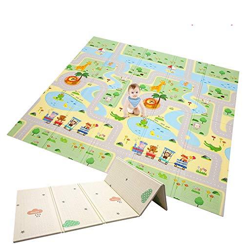 Babyspielunterlage Faltbare Babyspielunterlage übergroße Schaumstoffunterlage Reversible Baby-Krabbeldecke, Ungiftig Wasserdicht, Geeignet für Kinder und Kinder (Forest Maze + Jungle Animal)