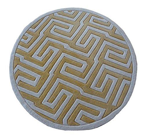 Motifs géométriques Ronde Tapis Salon Chambre Restaurant Tapis Piano Ordinateur Chaise Mats (#Chinese Yellow) (taille : 150cm)