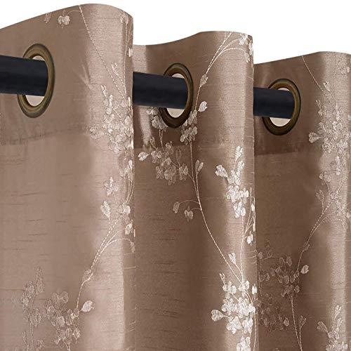 TOPICK Blümchen Bestickung Vorhänge mit Ösen künstliche Seide Bestickt Gardinen Schal für Salon (Brown, 140x245cm)