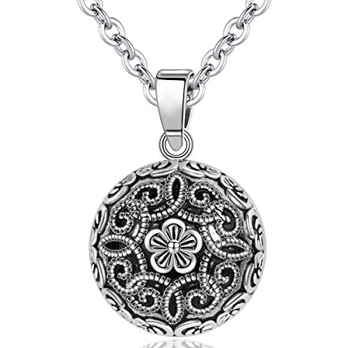 AEONSLOVE Vintage Flower Chime Ball Pendant Necklace Music Wishing Bola for Pregnancy Mom Baby Best Jewellery Gift Black