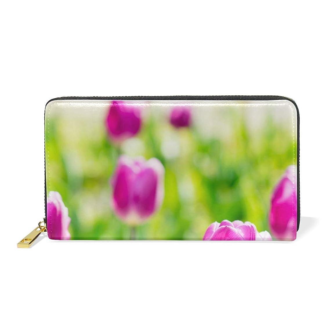 無限任意教育者AyuStyle 長財布 メンズ レディース 財布 二つ折り 紫色のチューリップ 春 個性的 PUレザー 小銭入れ お札入れ カード入れ 大容量 多機能 レディース メンズ 男女兼用