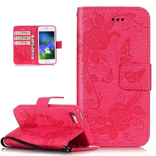 ikasus Coque iPhone SE 5S 5 Etui,Motif Gaufrage Papillon Rose Fleur Housse en Cuir PU Etui Housse en Cuir Portefeuille de Protection supporter Flip Case Etui Housse Coque pour iPhone SE 5S 5,Rose vif