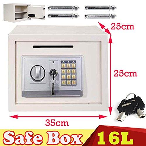 16L Electronic Digital Safe box for home office hotel di sicurezza in acciaio con 2chiavi 2bulloni di fissaggio a parete o a pavimento 35x 25x 25cm bianco, 2anno di garanzia