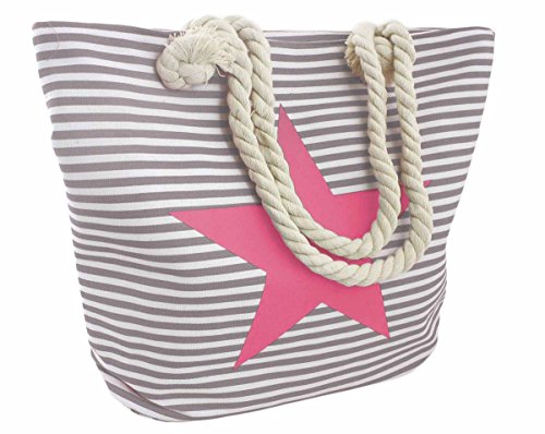 Sonia Originelli Strandtasche Stern Lena Beachbag Tasche Bag Streifen Maritim Farbe Grau-Rosa