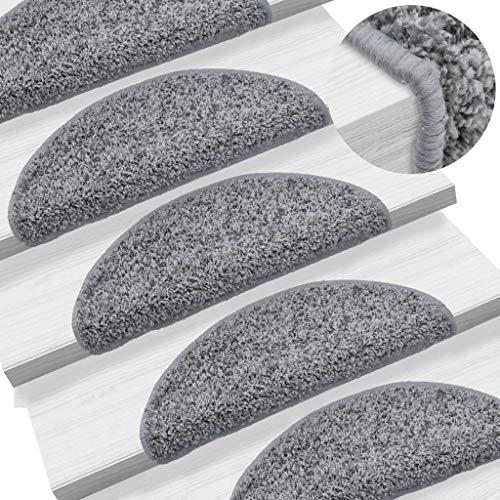 UnfadeMemory 15 pcs Treppenmatten Stufenmatte rutschfest Treppen Teppich Getuftet PP Sicherheitsstufenmatte Halbrund 700 g/m² Doppelseitige Klebebänder Stufenschutz (Grau, 56 x 20 cm)