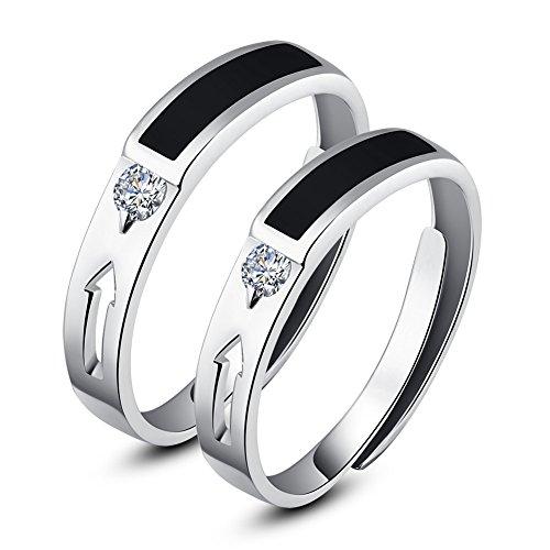Minalo broche de plata de ley en solitario estilo de los anillos de pareja anillos de boda diseño de triángulos de Nina ajustable para silla de oficina juego de aros de