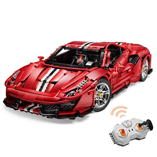 LOSGO Technic Bausteine für Ferrari 488 Auto Sportwagen, Technik Ferngesteuertes Auto Custom Rennwagen Bausatz Kompatibel mit Lego Technic