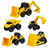 DGJEL 5PCS / Set Excavator Set Mini Machine Tractor Set Small Simulation Toy Truck Bulldozer Dump ABS Construction Vehicle Kids