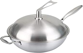 Kitchen Cookware Wok, Stainless Steel Wok 32/34cm / Non-Stick with Stainless Steel Lid - Suitable for All Hobs Including I...