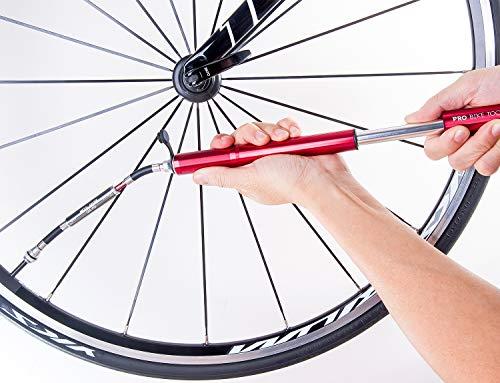 Pro Bike Tool Mini Fahrradpumpe mit Manometer für Presta & Schrader Ventile- Hoher Druck bis 6,9 Bar - zuverlässig, kompakt & leichte Rahmenpumpe mit Druckmessgerät - Pumpe für Rennrad, Mountainbike - 3