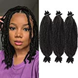 16 Inch Pre-Separated Springy Afro Twist Hair 9 Packs Pre-fluffed Natural Kinky Twist Great for Protective Styling Marley Crochet Braiding Hair For Black Women (16 INCH, 1B)