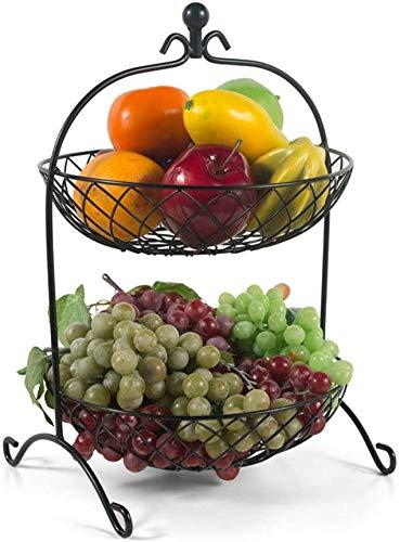 MGE plato de fruta Doble capa Hierro Arte Fruta Bandeja,Cesta de frutas Bandeja de frutas Estilo europeo Sala Fruta Plato Simple Fruta Fruta Tazones Fruta Cesta de frutas