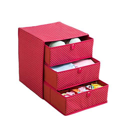 LXHK Utensilientaschen für Kinderzimmer, Aufbewahrungsbox für Unterwäsche, Oxford-Tuch, Schubladenart, DREI Etagen,Red