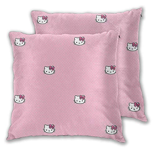 MISS-YAN Hello Kitty - Funda de cojín decorativa para cama, silla, sofá, 2 unidades