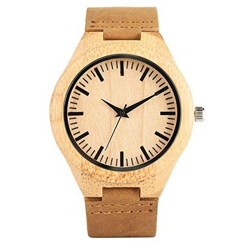 Yxxc Reloj de Madera Reloj de Madera para Hombre Reloj de Madera de bambú analógico Puro Simple Reloj de Cuero para Hombre Relojes para Hombre