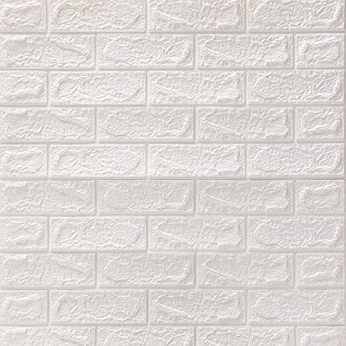 fdfg 5 Piezas de Pegatinas de Pared, 70X77cm Papel Tapiz 3D DIY ladrillo Autoadhesivo Adhesivo de Pared Azulejos de cerámica Paneles de Pared calcomanías para Cocina baño Decoración White