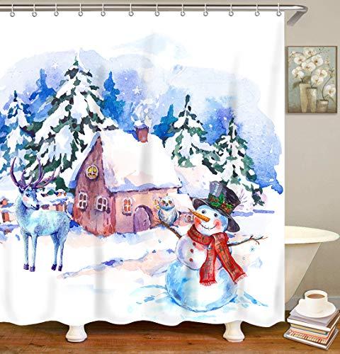 LIVILAN Weihnachts-Duschvorhang-Set mit 12 Haken, Schneemann Winter Duschvorhang, hellweiß blau Schneeflocke Schneemann Winter, 182,9 x 182,9 cm