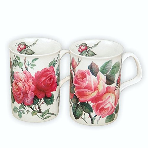English Rose Bone China Tea Mug Set