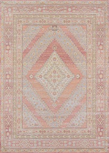 "Momeni Isabella Traditional Geometric Flat Weave Area Rug, 5'3"" x 7'3"", Pink"