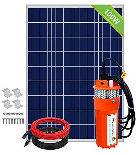 ECO-WORTHY Solar Deep Well Water Pump - 100W Solar Panel with 12V Deep Well Water Pump for Home Irrigation Ranch Farm