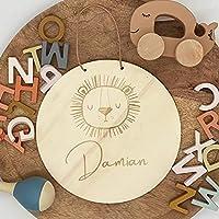 16 cm Ø Namensschild Türschild Holzschild mit Motiv Löwe | Personalisiert mit Name | Tiermotiv Tier aus Holz |...