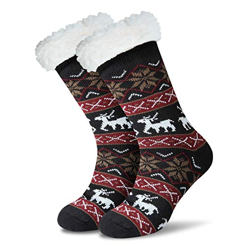 JARSEEN Damen Herren Kuschelsocken Winter Warme Socken Stoppersocken Hausschuhe Weihnachten mit ABS Rutschfest (EU 36-42, Deer Schwarz)