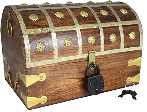 Well Pack Box Large Large Pirate Treasure Chest Box with Lock and Key