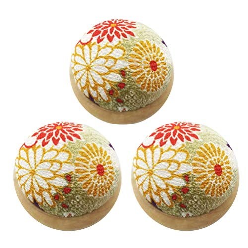 Amazing Deal BESTOYARD 3pcs Wooden Base DIY Pin Cushions Japanese Style Cloth Needle Cushion Handcraft Sewing Tools (Random Color) for Party Supplies