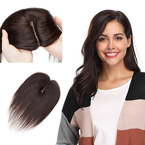 Clip in Topper for Women 130% Density Remy Human Hair Silk Base Top Hairpieces Replacement Crown Wiglet 50g Long Straight 16''/16inch #2 Dark Brown