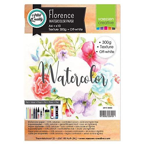 Vaessen Creative Florence Carta per Acquerello A4, Avorio, 300 g/mq, qualità Belle Arti, Grana Grossa, 10 Fogli per Pittura, Handlettering, Progetti Artistici e Altro Ancora