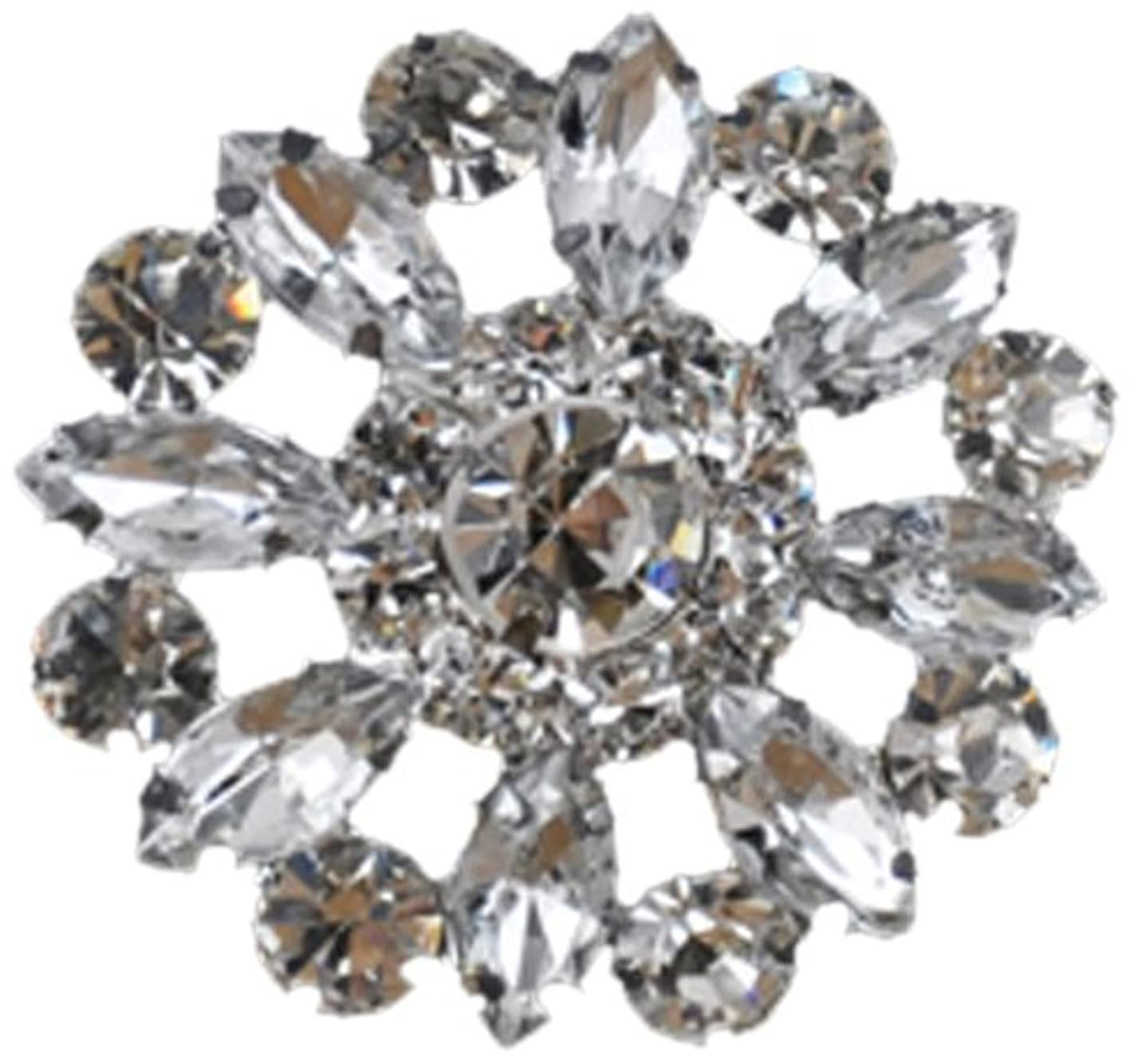 Rhinestone Button BRB-124, 1-1/4-Inch Silver Resin Base Button, Each Carded