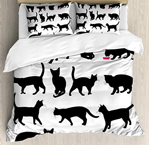 Cat Double Bedding Duvet Cover 3 Piece, Black Cat Silhouettes in Different Poses Domestic Pets Kitty Paws Tail and Whiskers, Soft Bedding Protects with 1 Comforter Cover 2 Pillowcase, White Black
