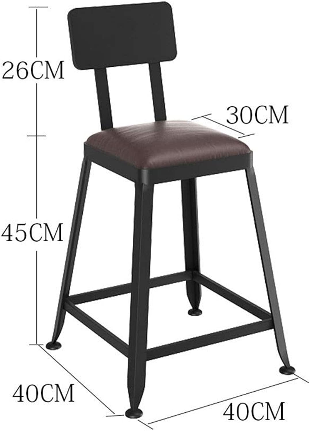 Iron Bar Chair, Retro Industrial Wind Bar Stool Backrest High Stool Home Chair Solid Wood Bar Stool 0520BAR (Size   F)