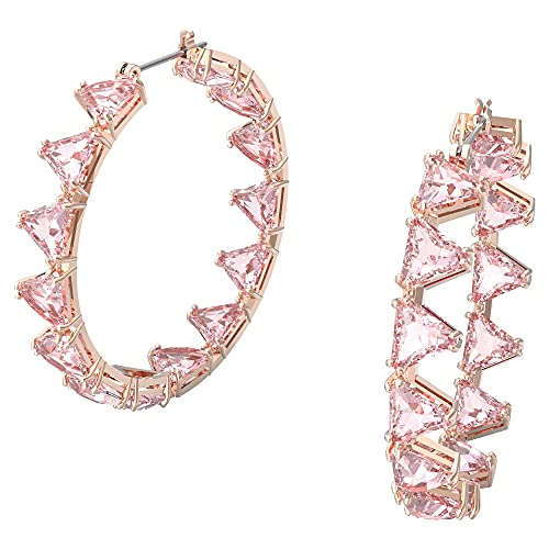 Swarovski Pendientes de aro Millenia, Cristales de talla triangular, Rosa, Baño tono oro rosa