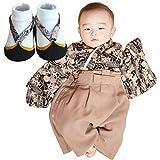 Sweet Mommy 袴 ロンパース ベビー 着物 カバーオール 日本製和柄ちりめん ブラック 80[足袋風靴下11-13㎝セット]