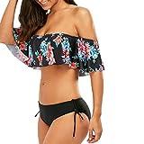 Bikinis Mujer,Dragon868 2020 Off Hombro Volante Bikini Set Trajes de baño para Las Mujeres Adolescentes (S, Negro)