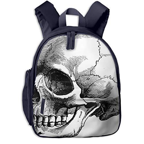 Mochilas Infantiles, Bolsa Mochila Niño Mochila Bebe Guarderia Mochila Escolar con Cráneo Esqueleto Cabeza Humana para Niños De 3 A 6 Años De Edad