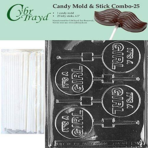 Cybrtrayd 45St25-B024 Het is een meisje Lolly Chocolade Snoep Mold met 25 Cybrtrayd 4.5 Lollipop Sticks door CybrTrayd