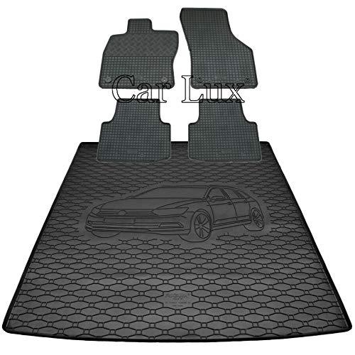 Car Lux DUO00959 - Alfombra protector maletero + Alfombras alfombrillas de goma a medida para Passat B8 Variant desde 2014-