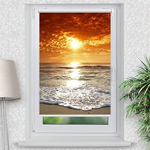 La-Melle » Rollo Motiv Meer Sonnenuntergang | Verschiedene Größen | Klemmrollo ohne Bohren | auch für Wand- oder Deckenbefestigung, Größe: B 80 x H 120 cm