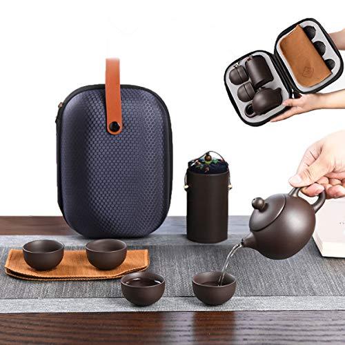 Zliger Teeservice Moderne Teekanne Set mit 1 Teekanne + 4 Teetassen + 1 Teematte + 1 Teekübel + Tragbarer Schutzbeutel für Geschenk und Haushalt Teeset