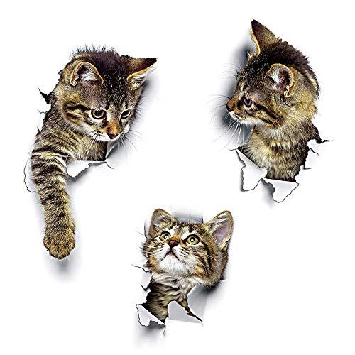 Wandsticker Wandaufkleber 3D Katzen Wandtattoo Kombination WC-Aufkleber Wasserdichte Kühlschrankaufkleber Türaufkleber Küche Wand Dekor