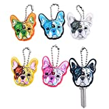 Stock Show 6Pcs/Pack Cute French Bulldog Shape Silicone Key Cover PVC Rubber Lovely Key Cap Keychain Key Holder Key Ring Women Bag Phone Charm Accessory Dog Lover Friends Kids Gift, Assorted Color