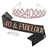 tao pipe 40años Corona Cumpleaños Cinturón de Cumpleaños Mujeres Tiara Corona de Diamantes de Imitación por 40 años de Decoración de Aniversario(Oro rosa)