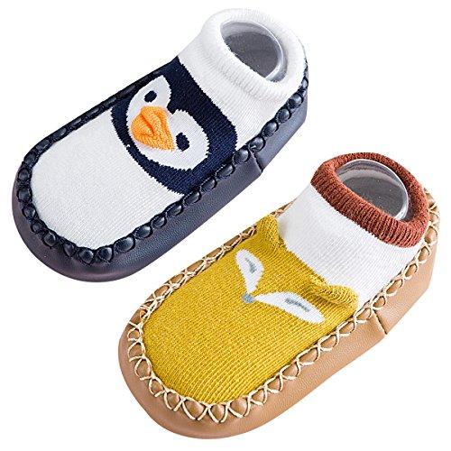 Neugeborene Socken Set 2 Paar Socke Herst Winter Hüttensocke Warm Krabbelschuhe Dicke Hauschuhe Mit Anti-rutsch Ledersohle Blau 10-18 Monaten